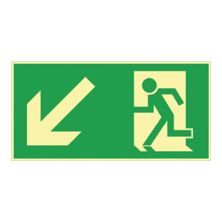 Folie Rettungsweg links abwärts 297x148mm grün/weiß nachleuchtend selbstklebend