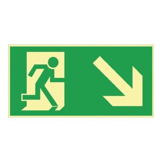 Folie Rettungsweg rechts abwärts 297x148mm grün/weiß nachleuchtend selbstklebend