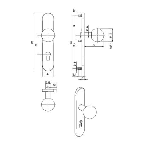 FS-Knopflangschild OGRO 3548/7020 AL FS Alu.F1 ovales Langschild Vollblatt OGRO