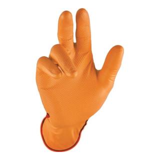 Gant jetable poignée orange taille 8 orange nitrile EN 388, EN 374 cat. III 50p