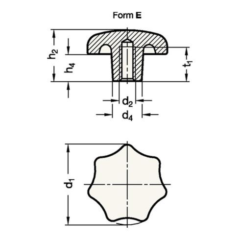 Ganter Sterngriff DIN 6336 m.Gewindebuchse Ku.d1 25mm d2 M 5mm