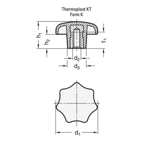 Ganter Sterngriff DIN 6336 m.Gewindebuchse Ku.d1 63mm d2 M 12mm