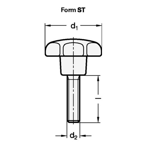 Ganter Sterngriff GN 6336.4 Sterngriffschraube Ku.d1 40mm d2 M 8mm l30mm