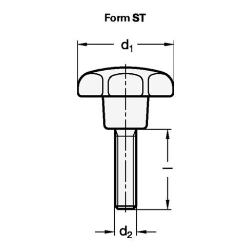 Ganter Sterngriff GN 6336.4 Sterngriffschraube Ku.d1 50mm d2 M 10mm l40mm