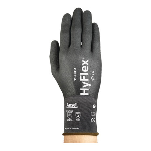 Gants HyFlex 11-849 T. 9 noir spandex / nylon avec revêtem.en nitrile EN 388 cat