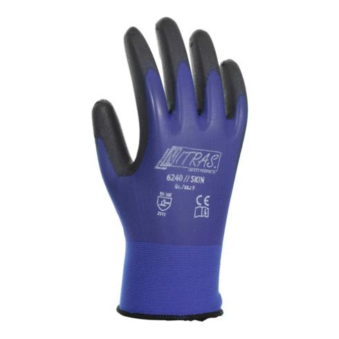 Gants Nitras Skin taille XL (9) bleu/noir nylon avec polyuréthane EN 388 cat. II