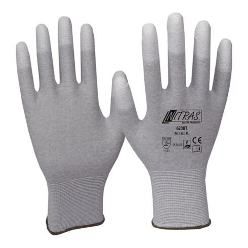 Gants taille M (7) gris/blanc nylon-carbone avec polyuréthane EN 388, EN 16350 c