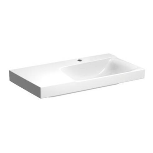Geberit Waschtisch 2 XENO 900 x 480 mm, Ablagefläche links, mit Hahnloch weiß