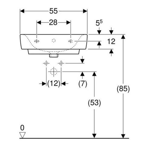 Geberit Waschtisch RENOVA PLAN ohne Hahnloch, mit Überlauf 550 x 440 mm weiß