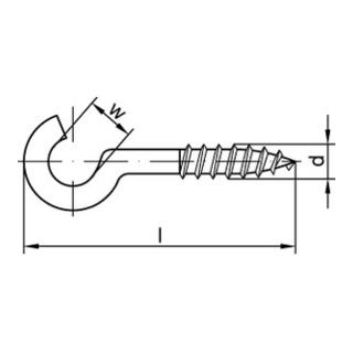 Gebogener Schraubhaken 40x2,9x12 Stahl weiß beschichtet