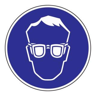 Gebotszeichen Augenschutz benutzen D.200mm Folie selbstklebend blau/weiß