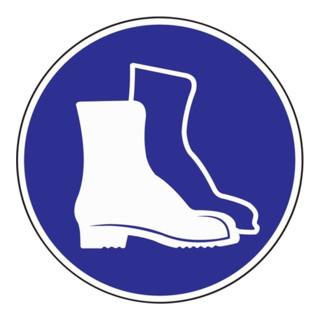 Gebotszeichen Fußschutz benutzen D.200mm Folie selbstklebend blau/weiß