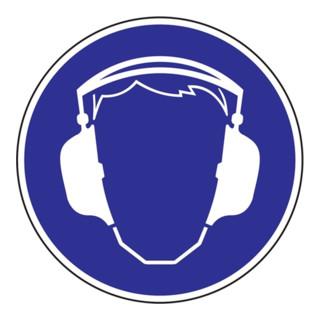 Gebotszeichen Gehörschutz benutzen D.200mm Folie selbstklebend blau/weiß