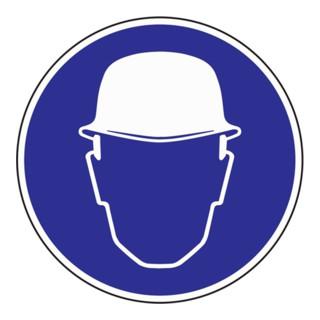 Gebotszeichen Kopfschutz benutzen D.200mm Folie selbstklebend blau/weiß