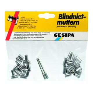 Gesipa Blindnietmuttern-Sortiment (34-teilig)