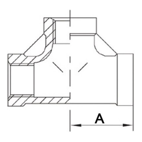 Gewindefitting T-Stück 90Grad IG NPS 1 1/2 Zoll