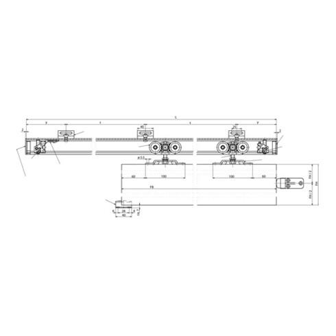 GEZE Schiebesystem Perlan 140 140kg EV 1 50-164cm