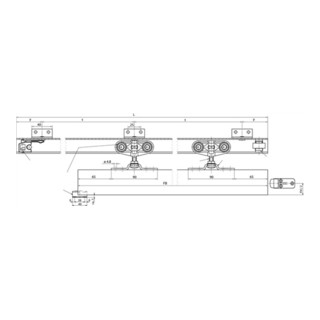 Geze Schiebetorbeschlag Rollan 80, Flügelbreite 50-119cm, Schienenlänge 2350mm