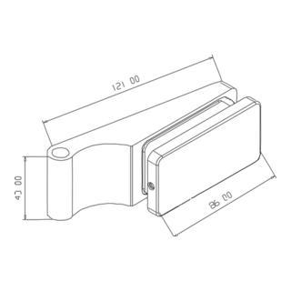 Glastürband 400 L.86mm H.43mm chrom 2tlg.m.Zierhülse
