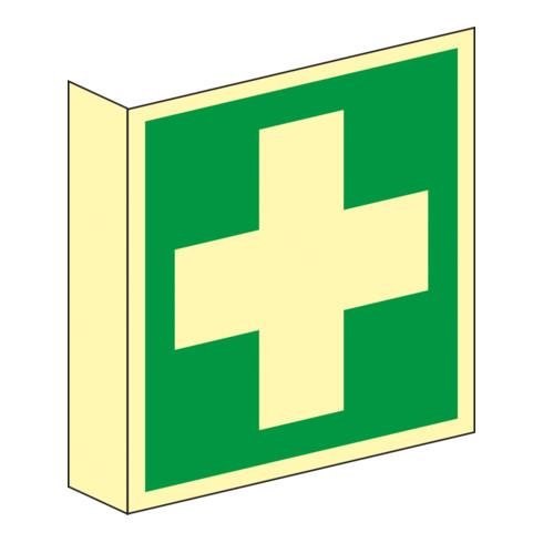 Gramm Medical Fahnenschild Erste Hilfe, Kunststoff langnachleuchtend