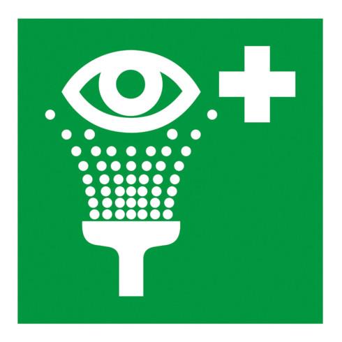 Gramm Medical Symbol Augenspüleinrichtung, Kunststoff langnachleuchtend, selbstklebend