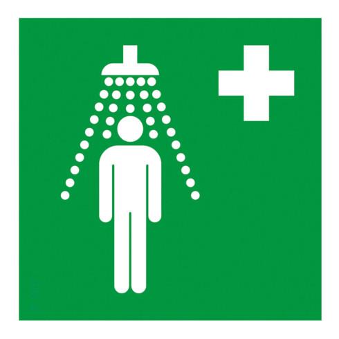 Gramm Medical Symbol Notdusche, Kunststoff langnachleuchtend, selbstklebend