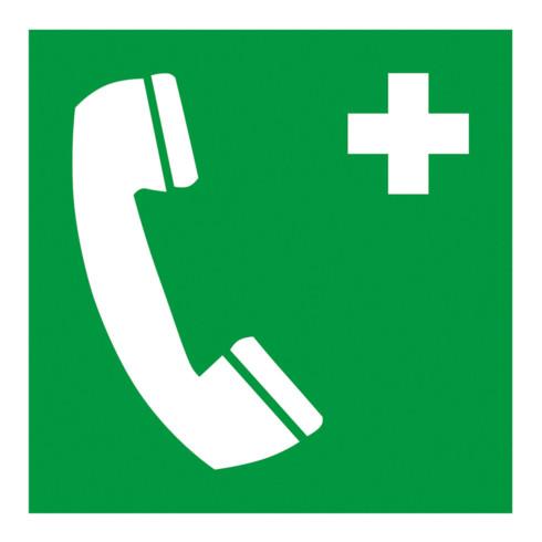 Gramm Medical Symbol Notruftelefon, Kunststoff langnachleuchtend, selbstklebend