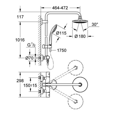 Grohe Duschsystem 180 EUPHORIA mit Thermostatbatterie für die Wandmontage, Duscharm 450 mm chrom