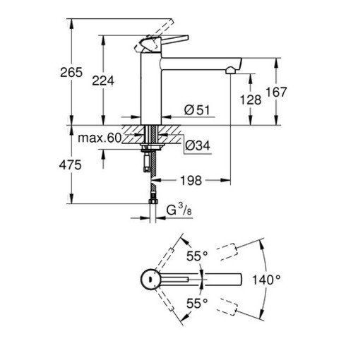 Grohe Einhand-Spültischbatterie CONCETTO DN 15 Mousseur supersteel