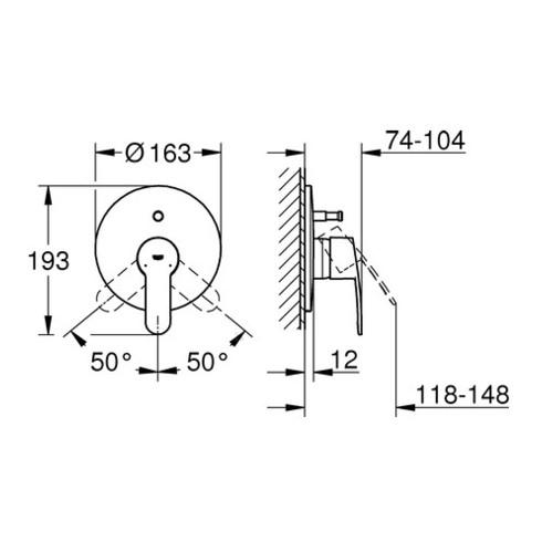 Grohe Einhand-Wannenbatterie COSMOPOLITAN EUROSTYLE Fertigmontageset für 35501 chrom