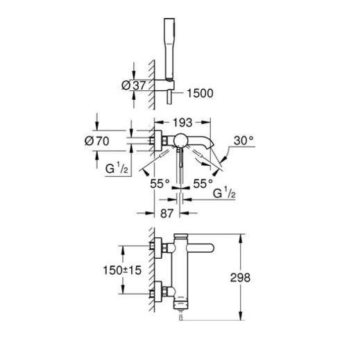 Grohe Einhand-Wannenbatterie ESSENCE DN 15, mit Brausegarnitur chrom
