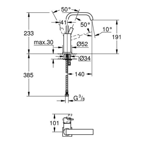 Grohe Einhand-Waschtischbatterie ALLURE DN 15, U-Auslauf, glatter Körper chrom