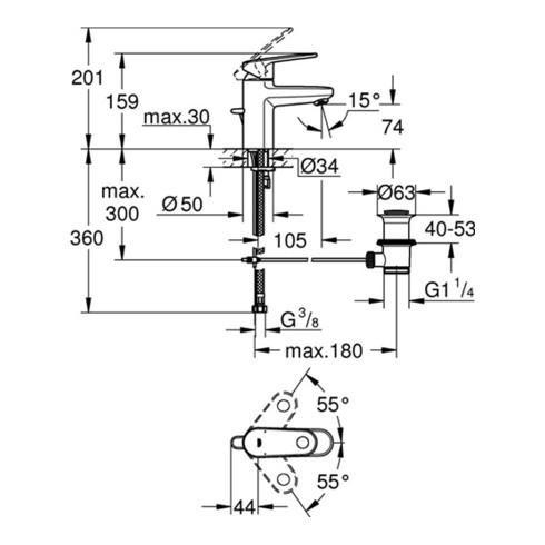 Grohe Einhand-Waschtischbatterie EUROPLUS DN 15 chrom
