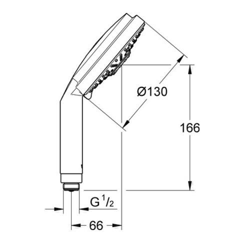 Grohe Handbrause Cosmopolitan RAINSHOWER 130 mm, 3 Strahlarten Rain/Jet/Pure chrom