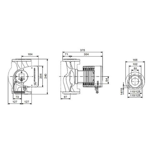 Grundfos Heizungsumwälzpumpe MAGNA3 F Flansch, 230 V, PN 6/10 Typ 50-60 F, DN 50, 240 mm