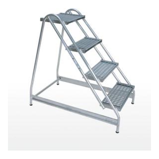 Günzburger Aluminium-Arbeitspodest einseitig begehbar: Stahl-Gitterrost