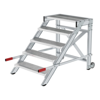 Günzburger Aluminium-Arbeitspodest fahrbar: Stahl-Gitterrost