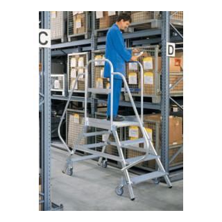 Günzburger Aluminium-Podestleiter beids. begehbar: Aluminium geriff. 7 St.