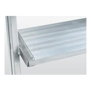 Günzburger Aluminium-Podestleiter beidseitig begehbar: Aluminium geriffelt