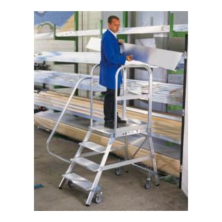 Günzburger Aluminium-Podestleiter einseitig begehbar: Aluminium geriffelt