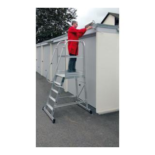 Günzburger Aluminium-Podesttreppe einseitig begehbar fahrbar