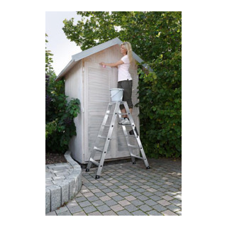 Günzburger Aluminium-Stehleiter beidseitig begehbar 2 x 6 Stufen