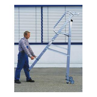 Günzburger Aluminium-Stehleiter eins. begehbar  Rollen&Griff 9 St.