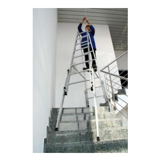 Günzburger Aluminium-Stehleiter trepengängig mit ausschiebbaren Holmen