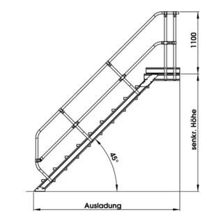 Günzburger Aluminium-Treppe Plattform 45° - DIN...