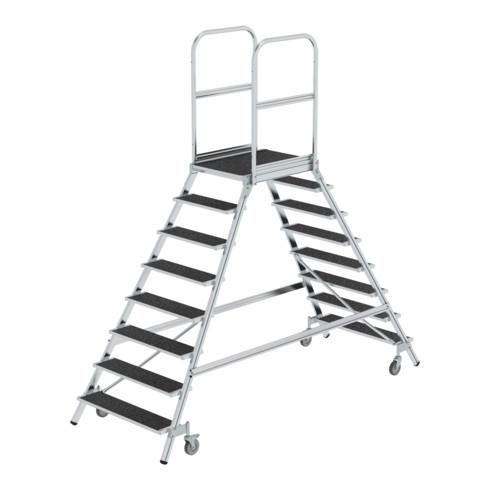 Günzburger Podesttreppe beids. begehbar mit Federrolle Korundbeschichtung R 13 8 Stufen