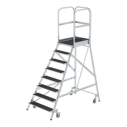 Günzburger Podesttreppe eins. begehbar mit Federrollen Korundbeschichtung R 13 8 Stufen