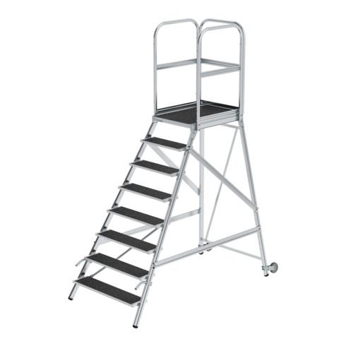 Günzburger Podesttreppe einseitig begehbar mit Rollen& Griffen Korrundbesch. R13 8 Stufen