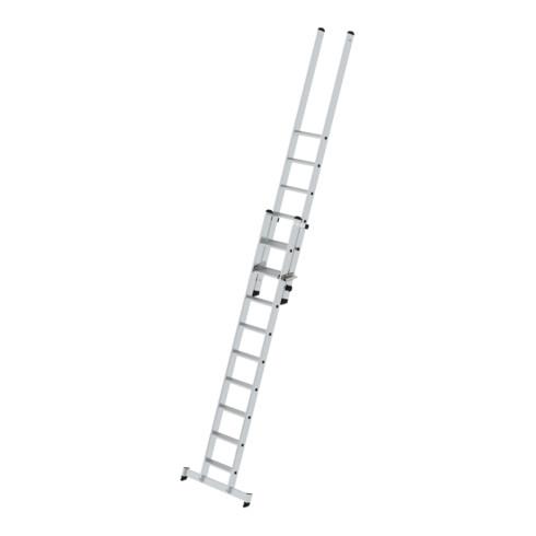 Günzburger Stufen-Schiebeleiter 2-teilig mit nivello-Traverse 1x9 + 1x6 Stufen