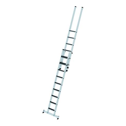 Günzburger Stufen-Schiebeleiter 2-teilig mit nivello-Traverse und clip-step R 13 1x9 + 1x6